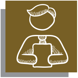 Gold icon with white outline of a person holding papers