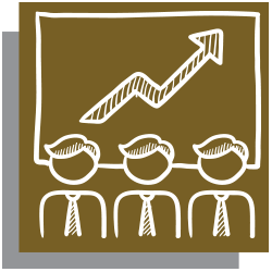 Gold icon with white outline of a chart and people