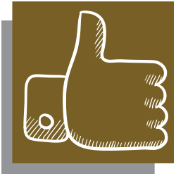 Gold icon with white outline of a thumbs up