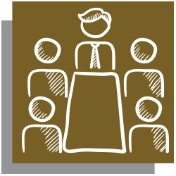 Gold icon with white outline of people in a meeting around a table
