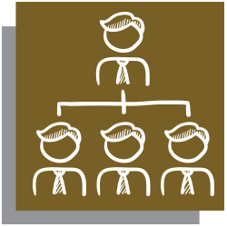 Gold icon with white outline of a flowchart of people